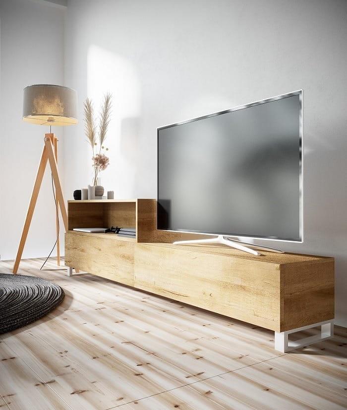 Fantastyczny Szafka RTV pod telewizor IVO na wymiar drewno lite stelaż metalowy UU76